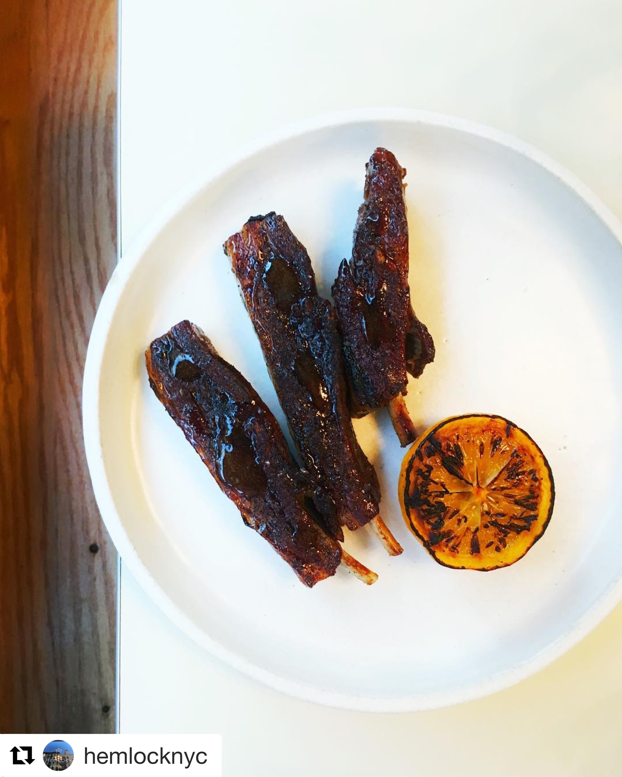 Lamb Ribs glazed in coffee, black cardamom and Meyer lemon
