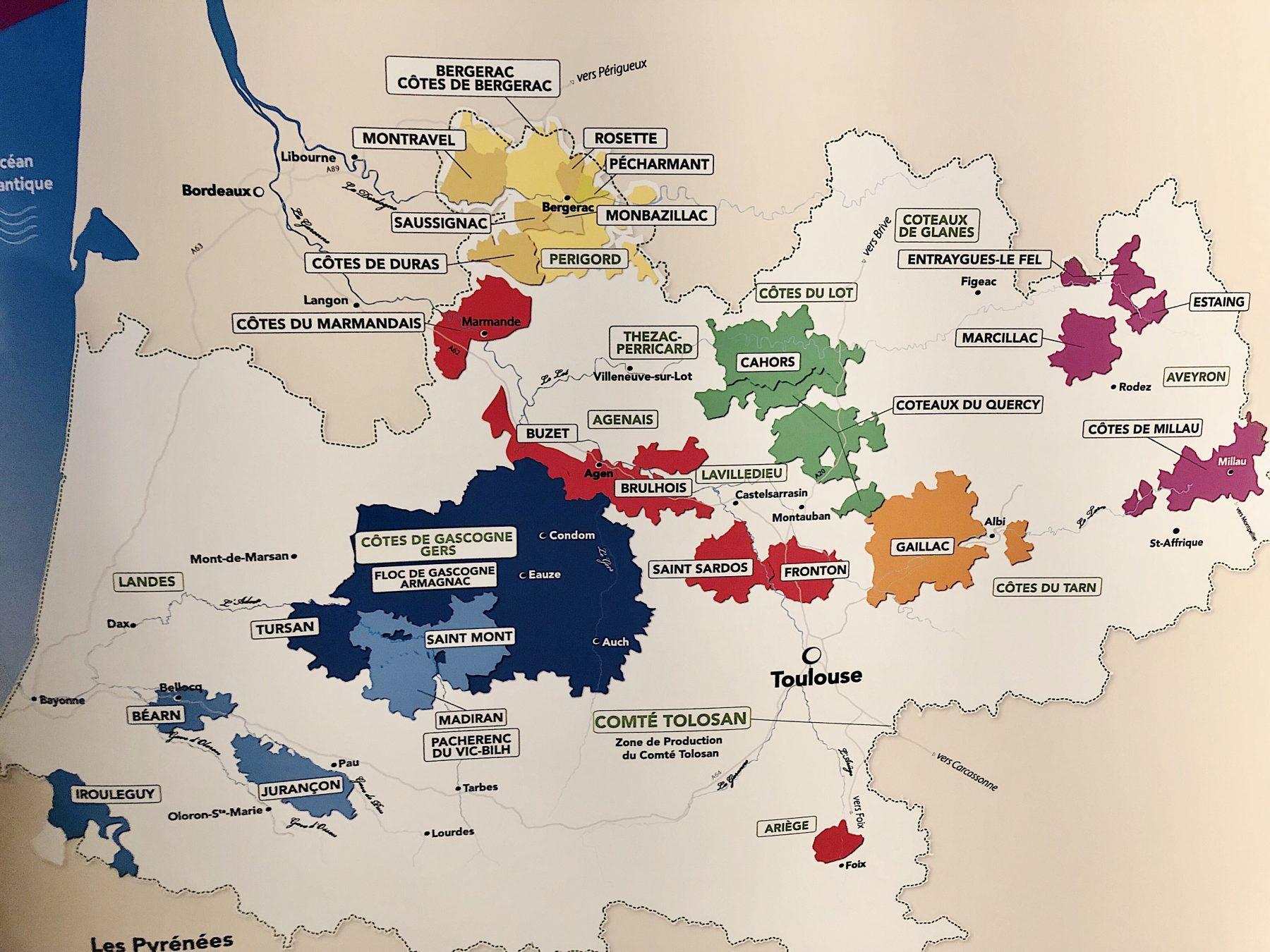 Wine Map of Southwest France