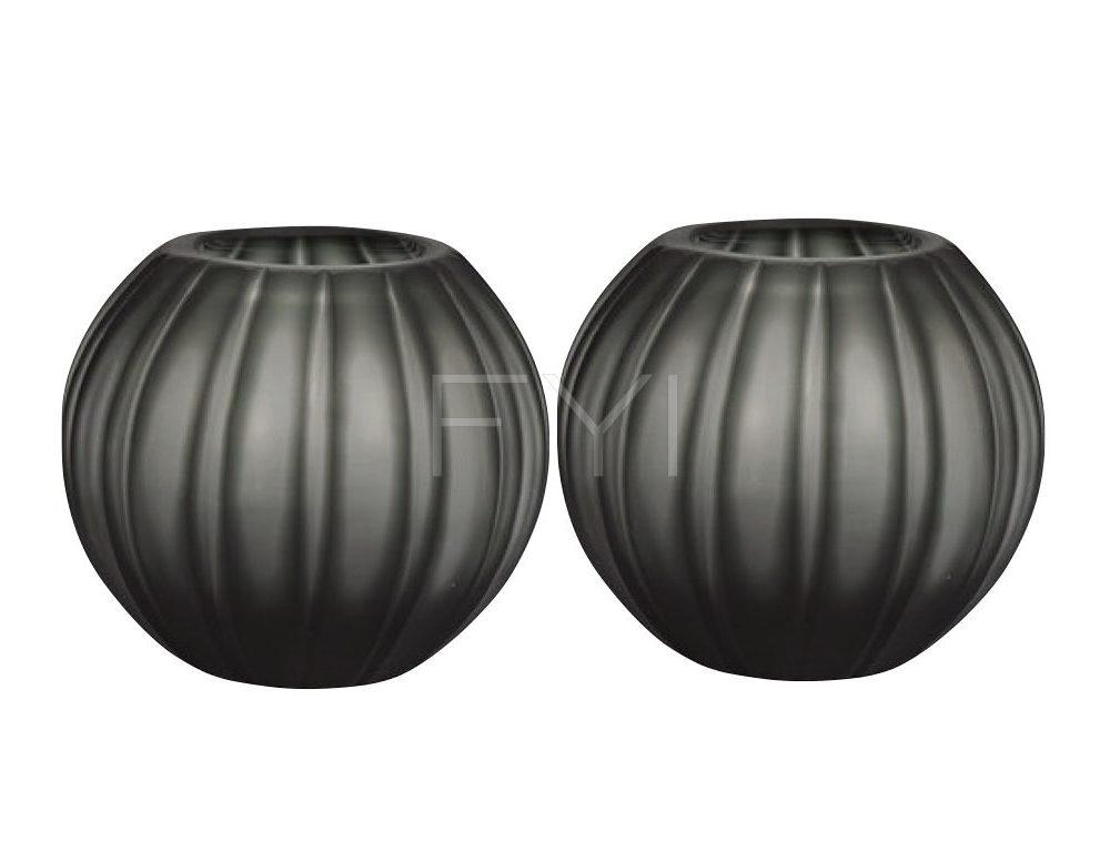 Waxinelichthouders glas kleur grijs