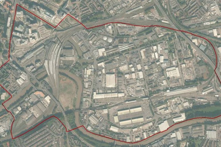 Aerial view of Temple Meads masterplan area