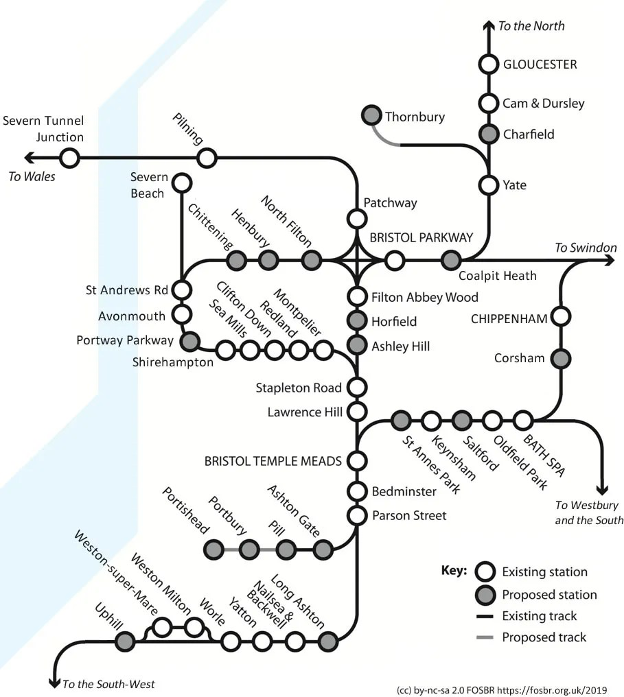 FOSBR Plan for Rail, showing existing and proposed stations