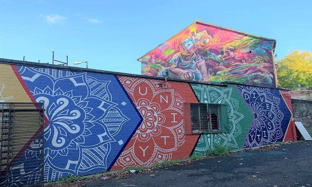 """Stapleton Road – entrance from Stapleton Road – mandala mural by """"Peace of Art"""""""