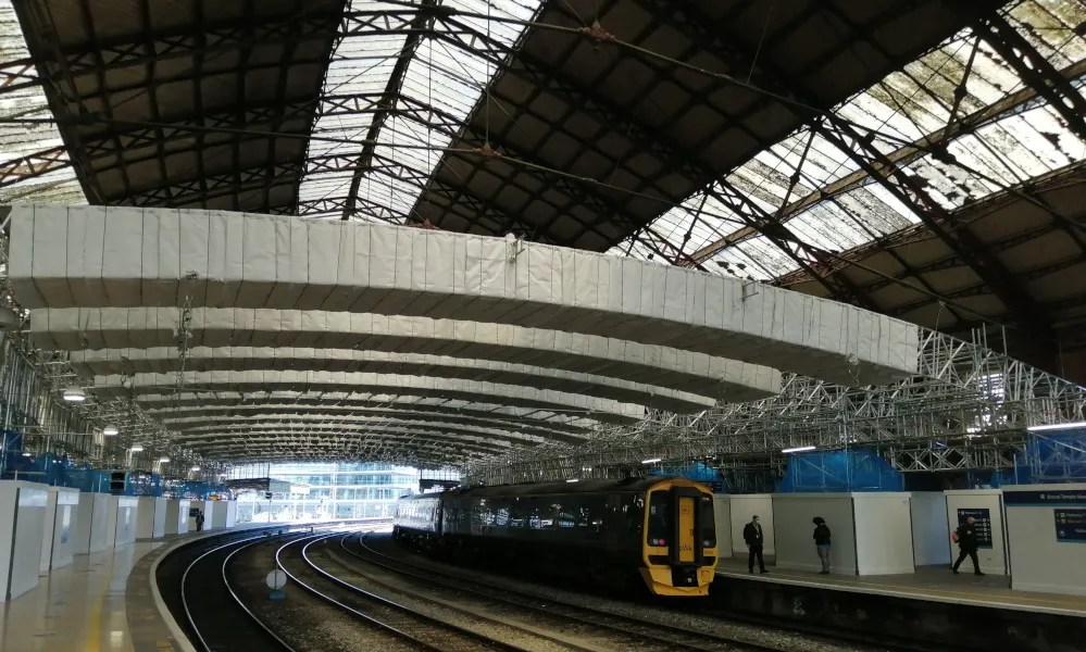 Scaffolding under main roof at Bristol Temple Meads