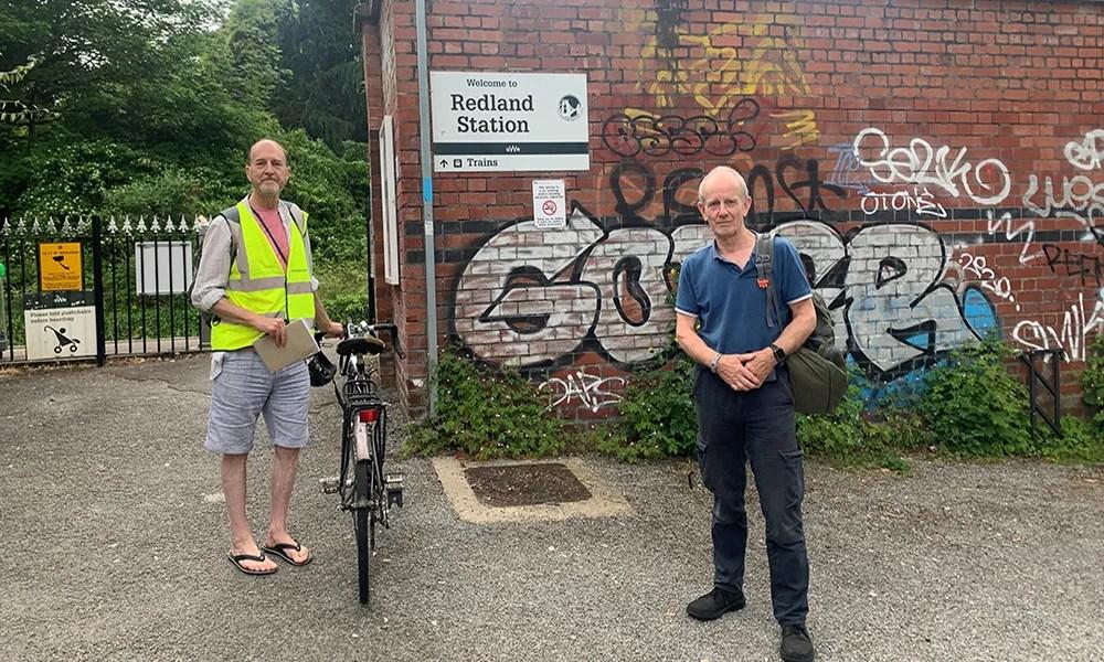 Councillor Martin Fodor & FoSBR's Tony Lloyd at Redland Station - 10th June 2021