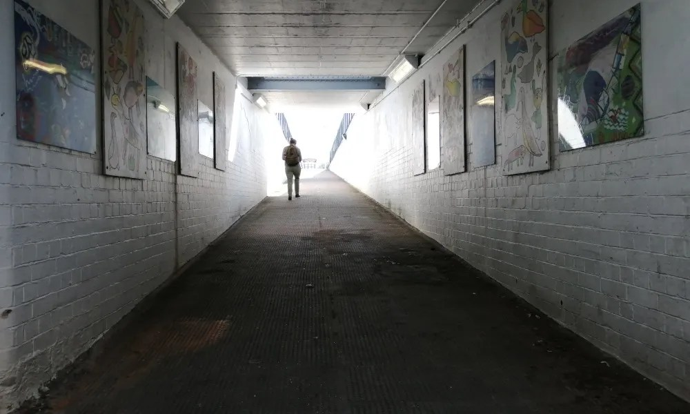 Carol Durrant explores the subway at Bedminster Station. These ramps are too steep to comply with Equality Act requirements