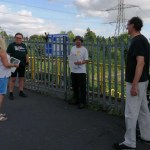 Maria Perrett of Lockleaze Neighbourhood Trust, local councillor David Wilcox and FoSBR's Rob Dixon and Tim Weekes at the site of proposed Lockleaze train station
