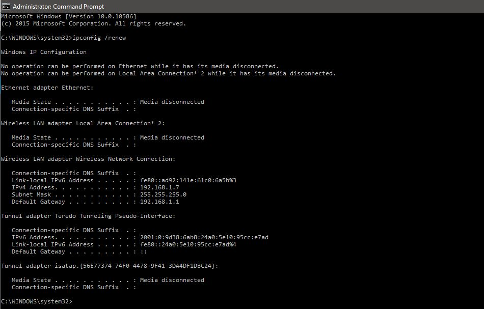 IP renew on cmd Windows 10