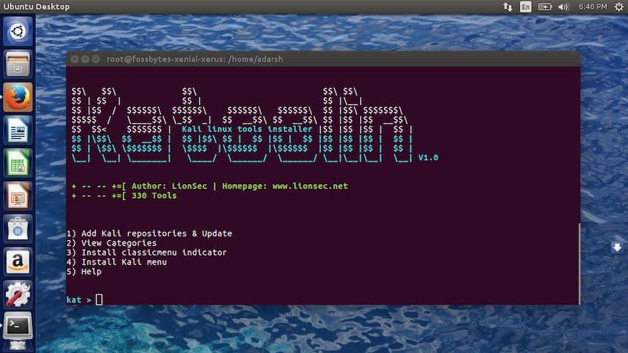 alat linux Kali di ubuntu menggunakan katoolin