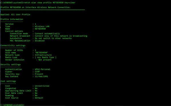 netsh wlan show profile wifi-name key=clear wifi password using cmd
