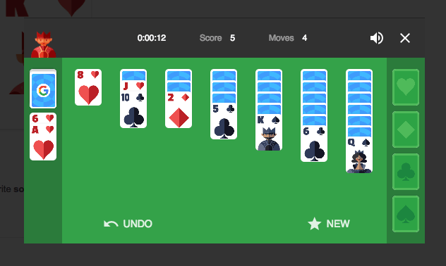 how to play solitaire google search 1