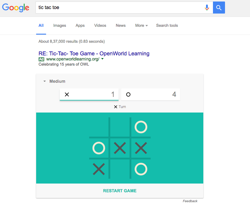 how to play tic tac toe google search 2