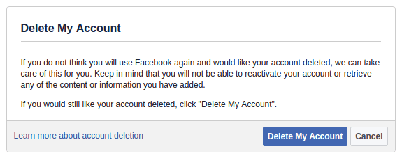 facebook account delete