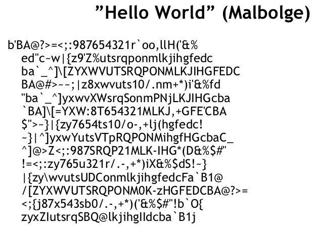 Image result for malbolge hello world, cool tech facts