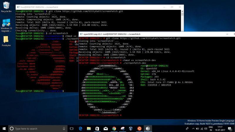 ubuntu suse on windows 10