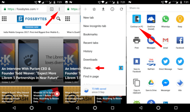 Continue on PC 5 Share Web Links Google Chrome