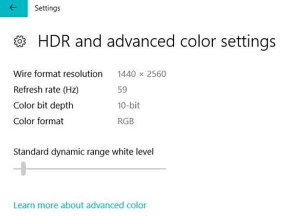 Windows 10 membangun 17040 mode HDR