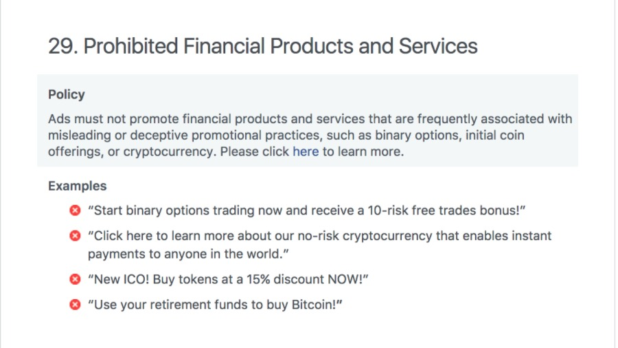 Facebook cryptocurrency ads ban