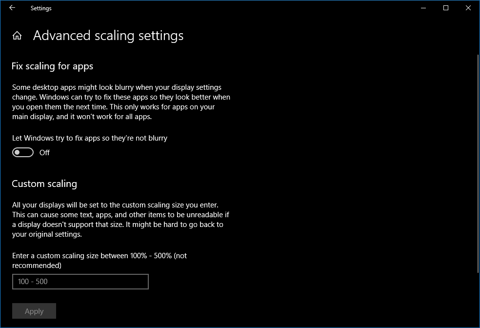 Advanced settings page for graphics, where you can configure scaling for displays. Image credit: Fossbytes