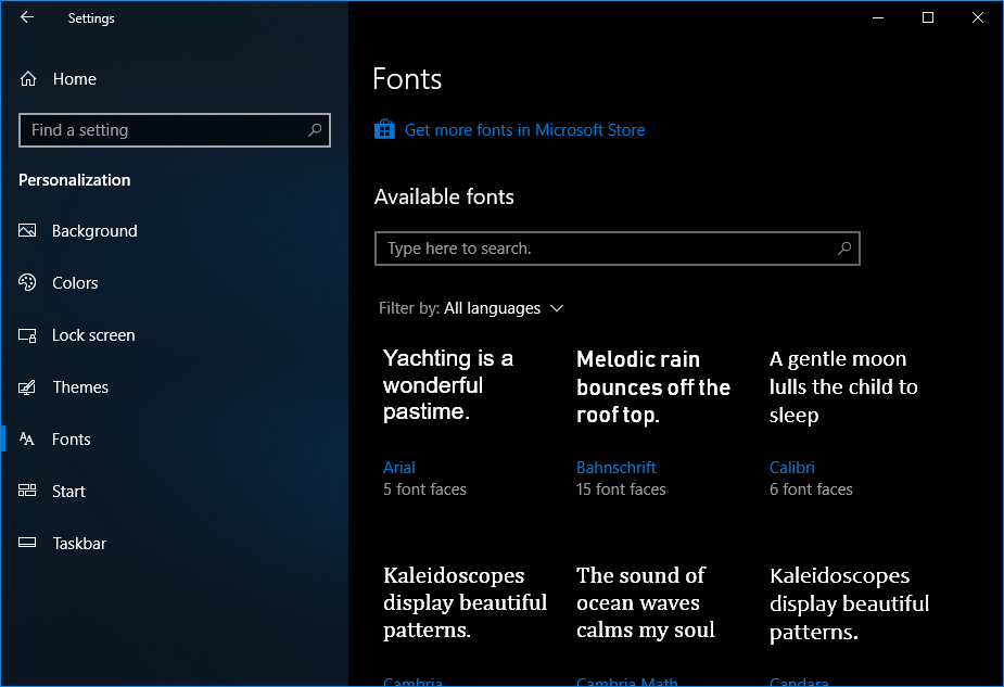 New fonts page! Image credit: Fossbytes