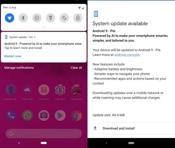 Android Pie untuk Pixel