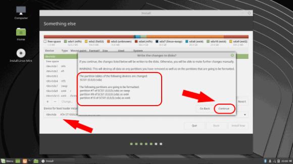 Устройство Linux Mint 19 Tara для установки загрузчика