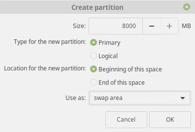 Linux Mint 19 Tara Swap Partition