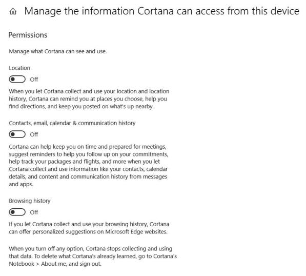 Manage the information Cortana can access from the device 2