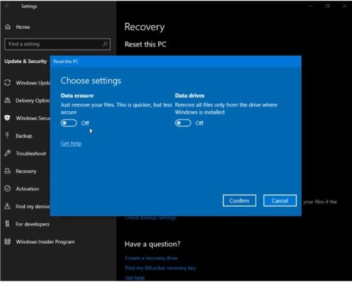 Atur ulang PC Saya di Windows 10