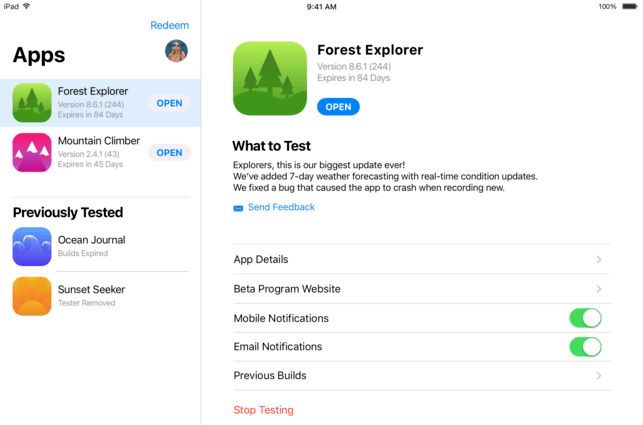 testflight for xamarin