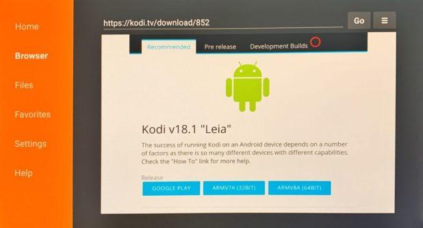 Application Android Kodi sur Firestick