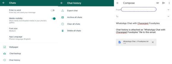 WhatsApp E-mail чат