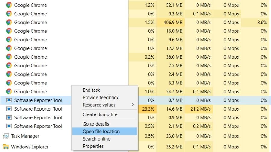 Lokasi File Alat Reporter Perangkat Lunak