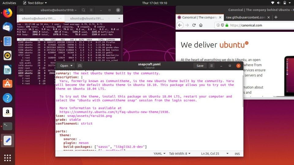 Ubuntu 19.10 Tema Gelap