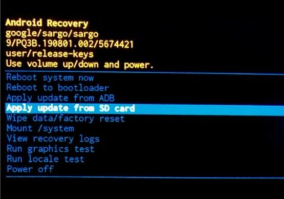 Apply Update From SD Card Android Recovery