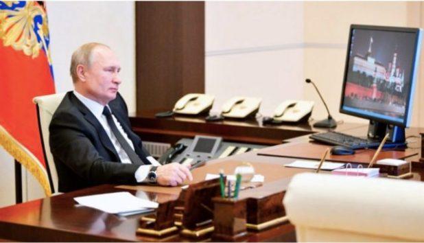 Russie Vladimir Poutine utilisant Windows XP