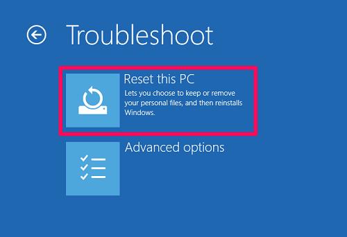 réinitialiser Windows 10 sans paramètres