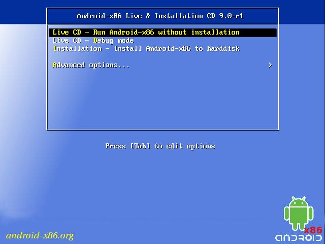 Menu de inicialização do Android-x86
