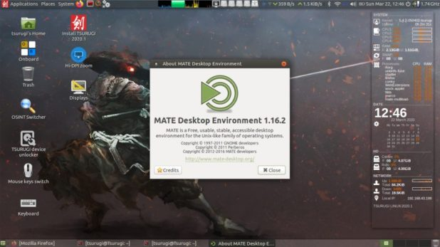 Environnement de bureau Tsurugi Linux MATE
