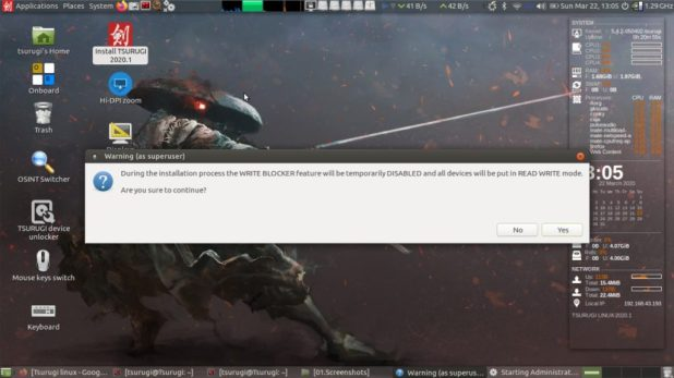 Processus d'installation de démarrage de Tsurugi Linux