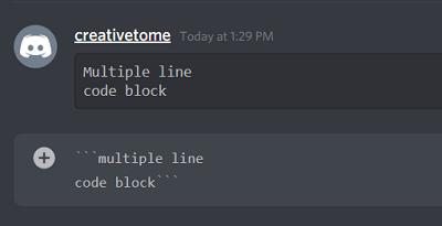 Multiple line Discord Code Blocks