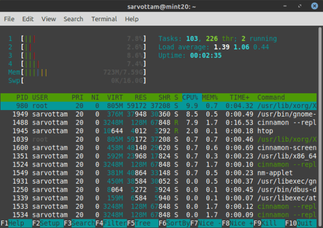 Linux Mint 20 memory usage at idle