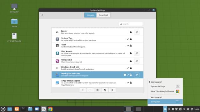 Workspace switcher applet