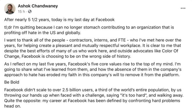 """Engenheiro sai do Facebook e diz que a empresa """"lucra com o ódio"""""""