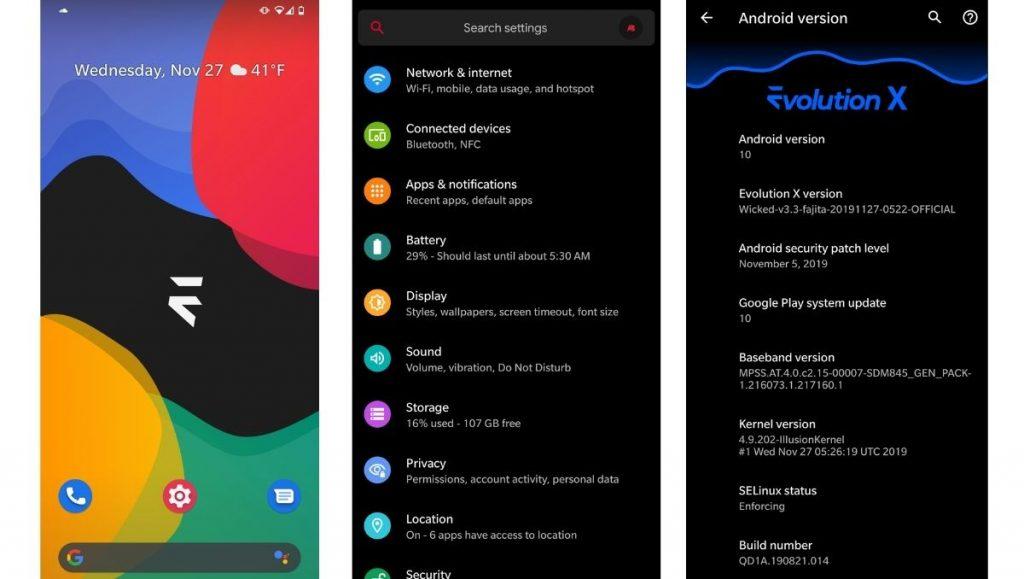 evolutionx screenshots - best android custom ROMs for 2021