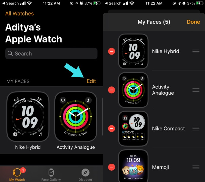 Reorder Watch Faces Apple