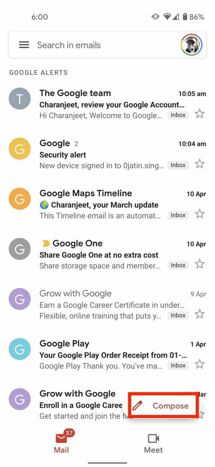 Compose gmail Android