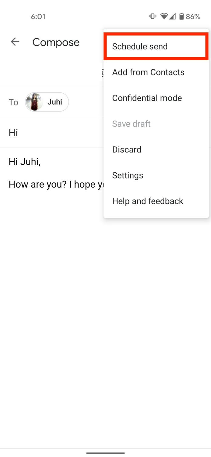 Select schedule send Android Gmail