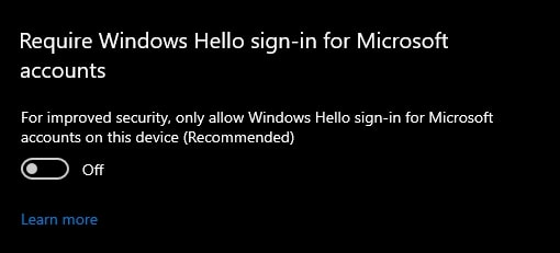 Gunakan Windows Hello For Sign in