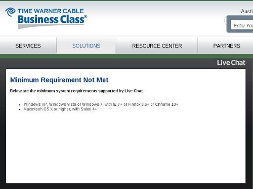 Time Warner chat error message
