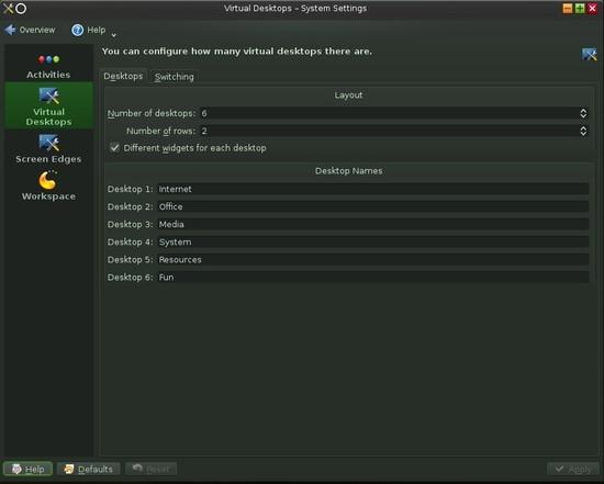 KDE Virtual Desktop Dialog